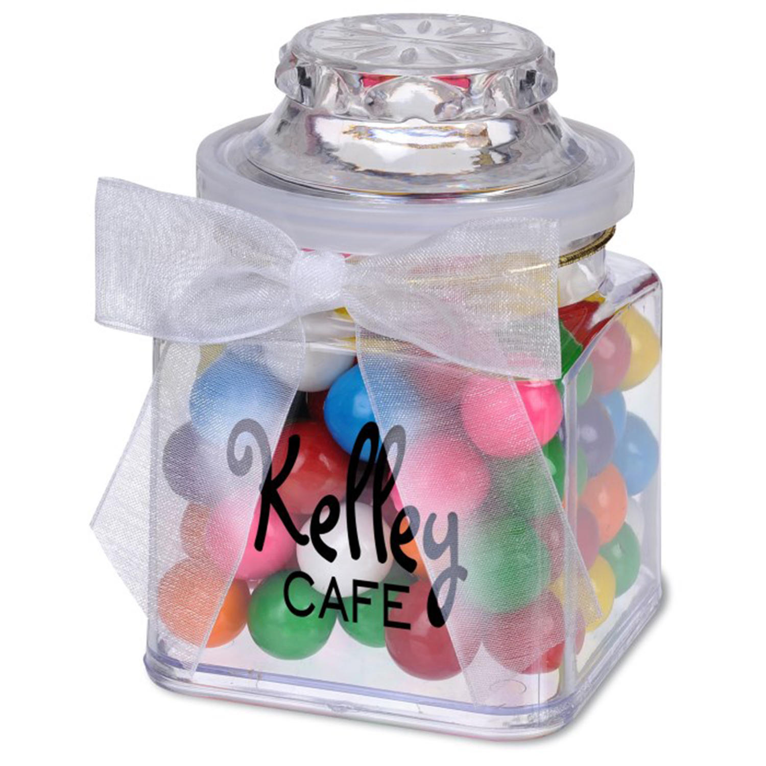 8 Oz. Plastic Jar w/ Rainbow Bubble Gum, P208-DBG, One Colour Imprint