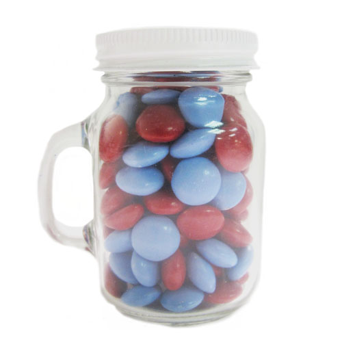 3.25 Oz. Glass Mini Mason Jars w/Chocolate Buttons, MMJ-CBU, One Colour Imprint