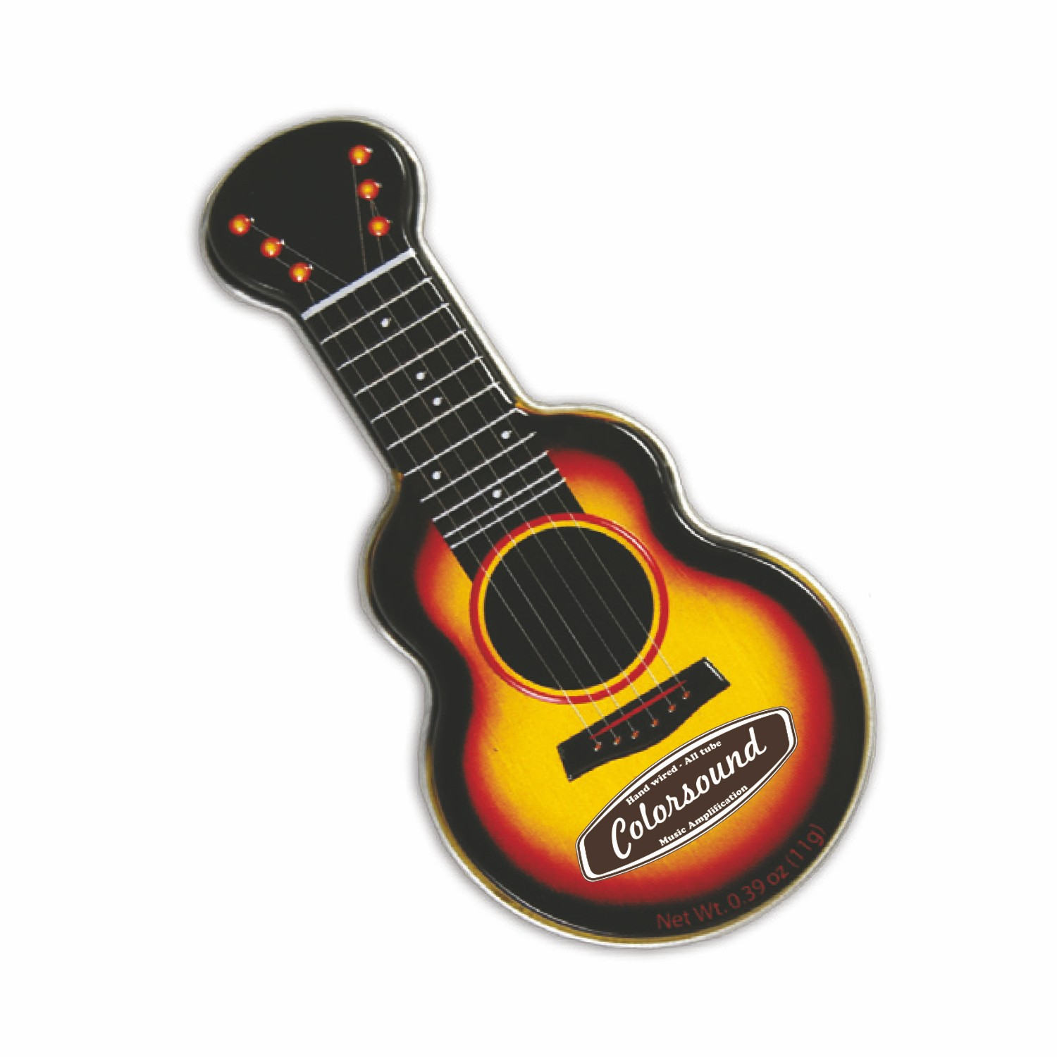 Black/Gold Acoustic Guitar Shaped Mint Tin, AGYL, One Colour Imprint
