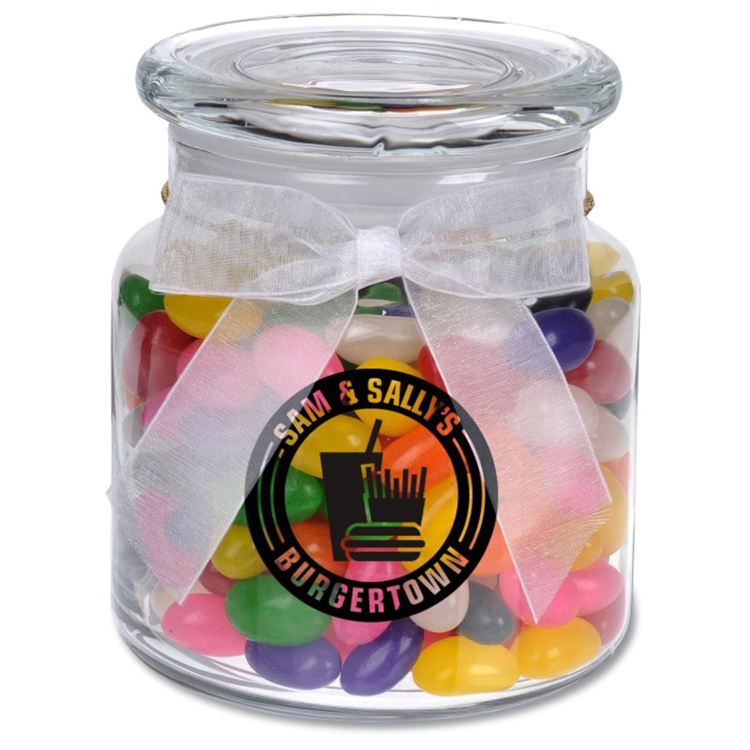 22 Oz. Glass Jar w/ Assorted Regular Jelly Beans, G220-JEL, One Colour Imprint