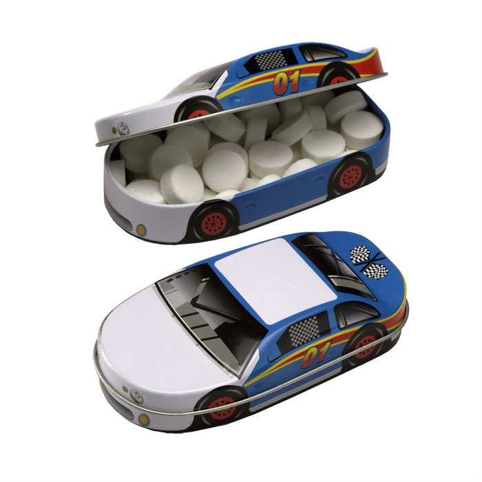 Race Car Tin w/Sugar-Free MicroMints, 500-MICROMINTS, One Colour Imprint