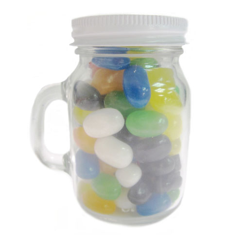 3.75 Oz. Glass Mini Mason Jars w/Gourmet Jelly Beans, MMJ-GJEL, One Colour Imprint