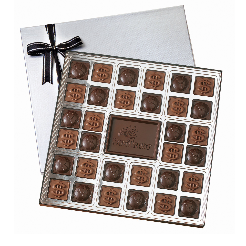 Custom Chocolate Squares Gift Box, SQ32, Chocolate Mold Imprint