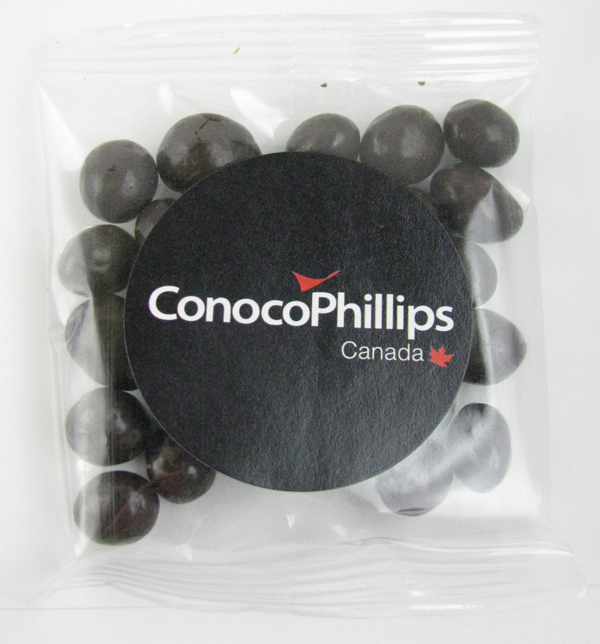 1 Oz. Goody Bag Dark Chocolate Espresso Beans, GB-DCE, Full Colour Imprint