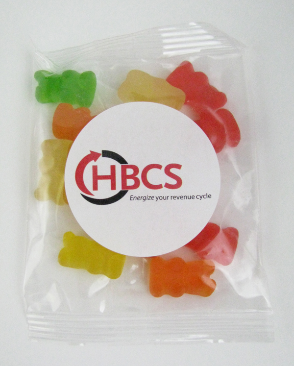 1 Oz. Goody Bag Gummy Bears, GB-GB, Full Colour Imprint