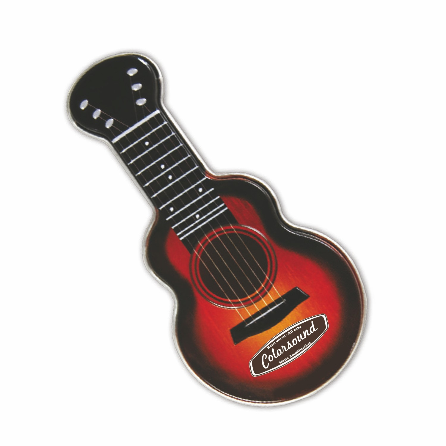 Black/Red Acoustic Guitar Shaped Mint Tin, AGRD, One Colour Imprint