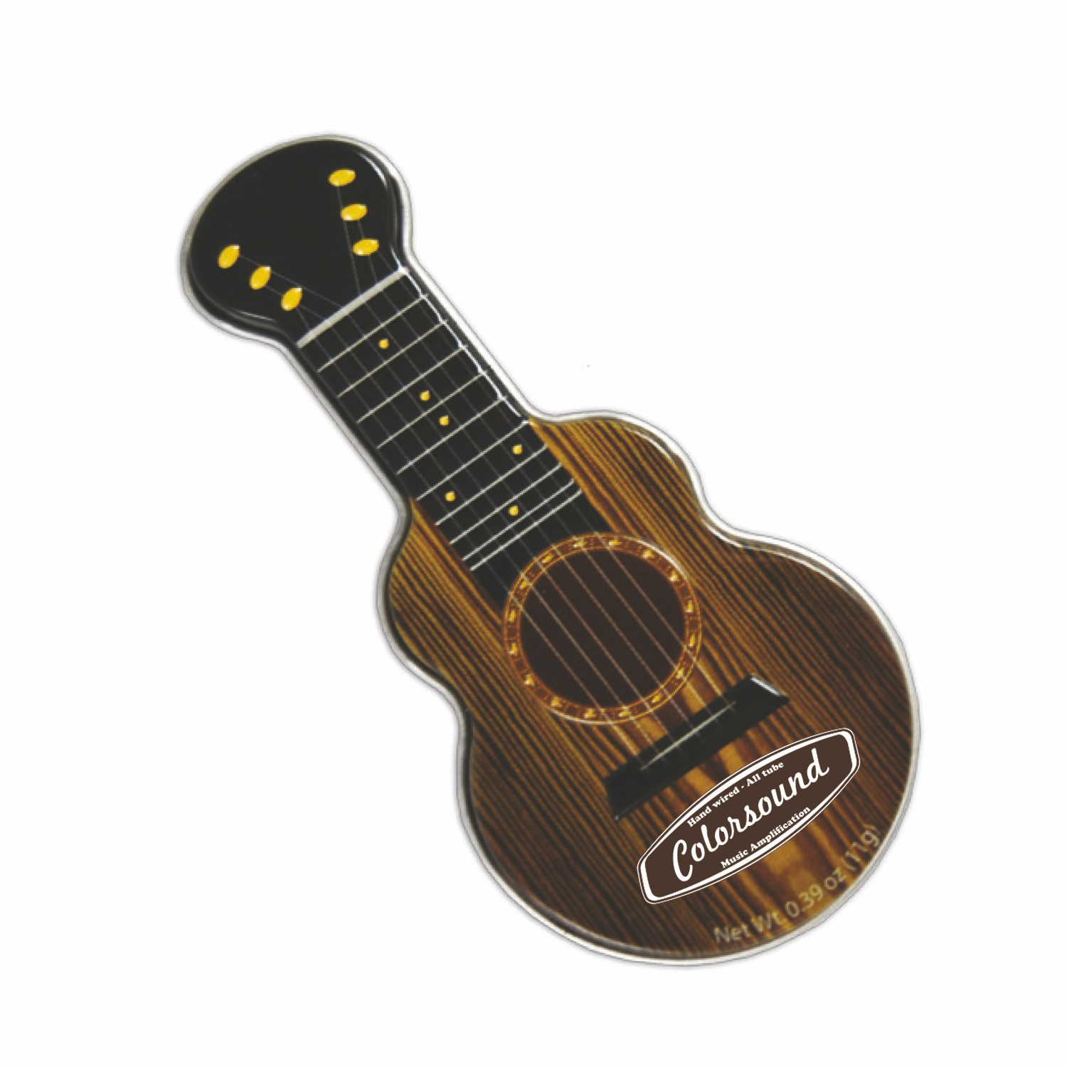 Dark Woodgrain Acoustic Guitar Shaped Mint Tin, AGWD, One Colour Imprint