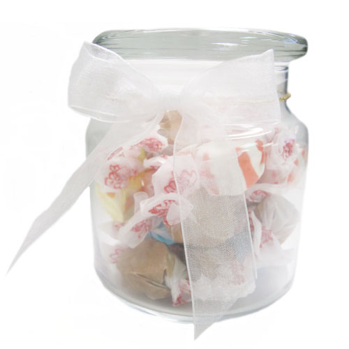 22 Oz. Glass Jar w/ Salt Water Taffy, G220-SWT, One Colour Imprint