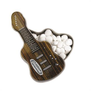 Dark Woodgrain Electric Guitar Shaped Mint Tin, EGWD, One Colour Imprint