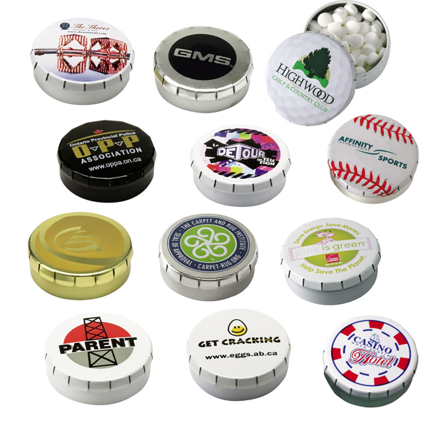 Snap-It Tin w/Sugar-Free MicroMints (Custom), 404-MICROMINTS, Full Colour Imprint