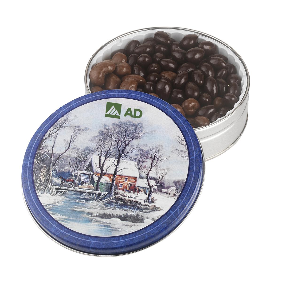Glad Tidings Tin w/ Dark Choc Almonds & Milk Choc Cashews, 600-DCAM, Full Colour Imprint