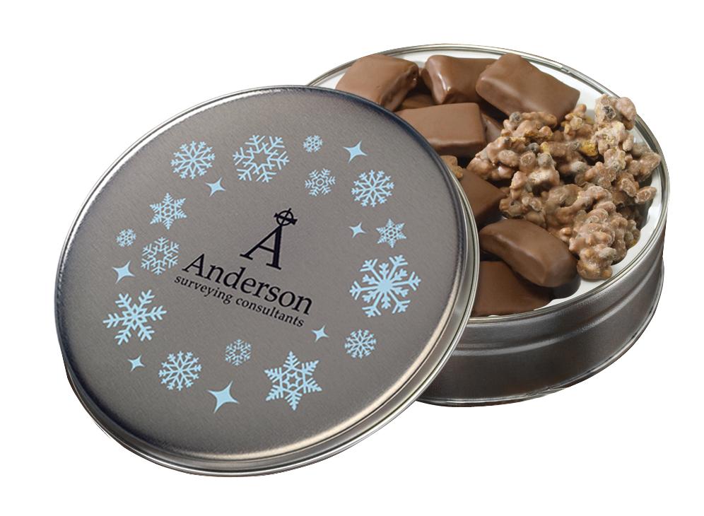 Glad Tidings Tin w/ English Butter Toffee & Clodhoppers (Custom Tin), 600-EBTC, Full Colour Imprint