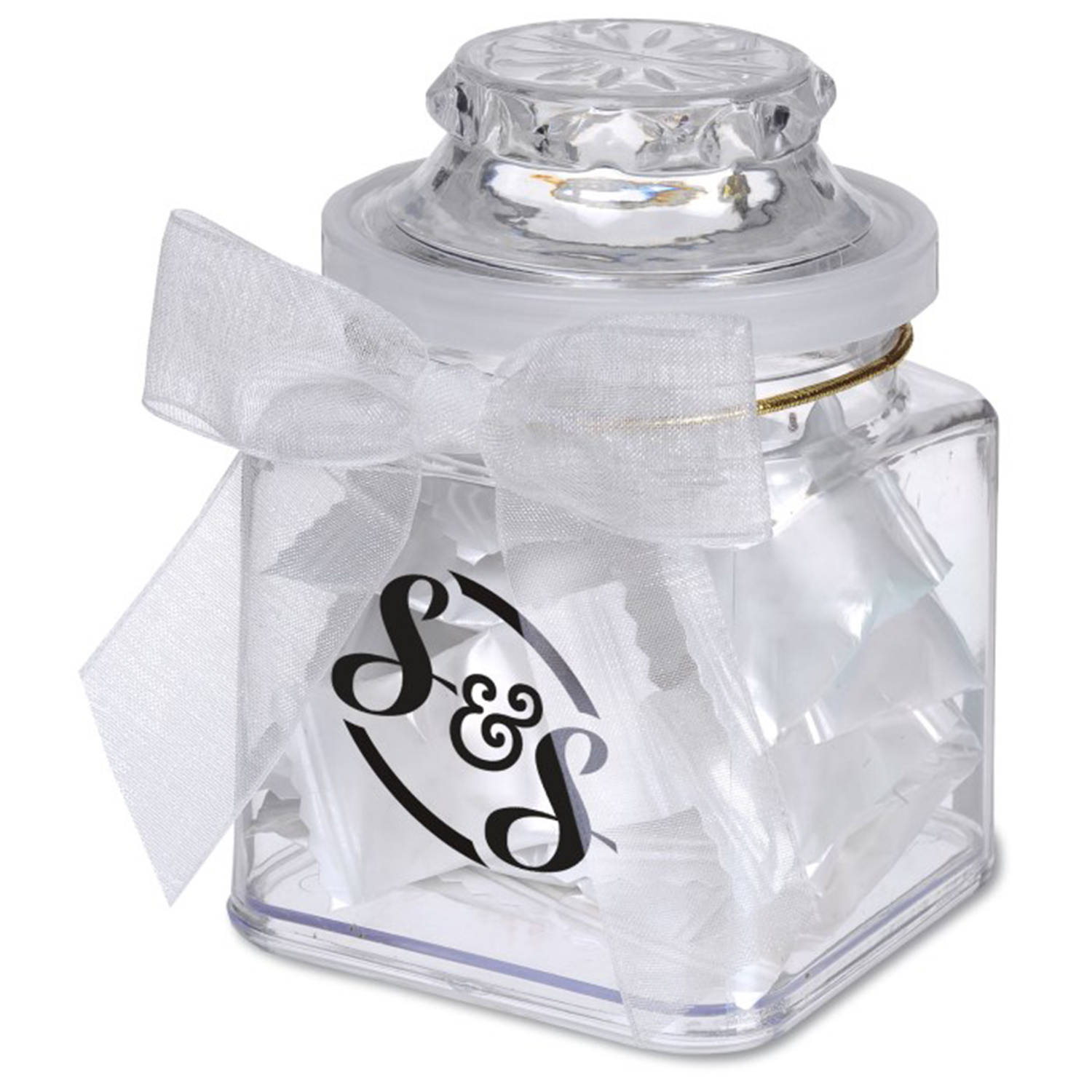8 Oz. Plastic Jar w/ Personalized Candies, P208-PERSONALIZEDCANDIES, One Colour Imprint