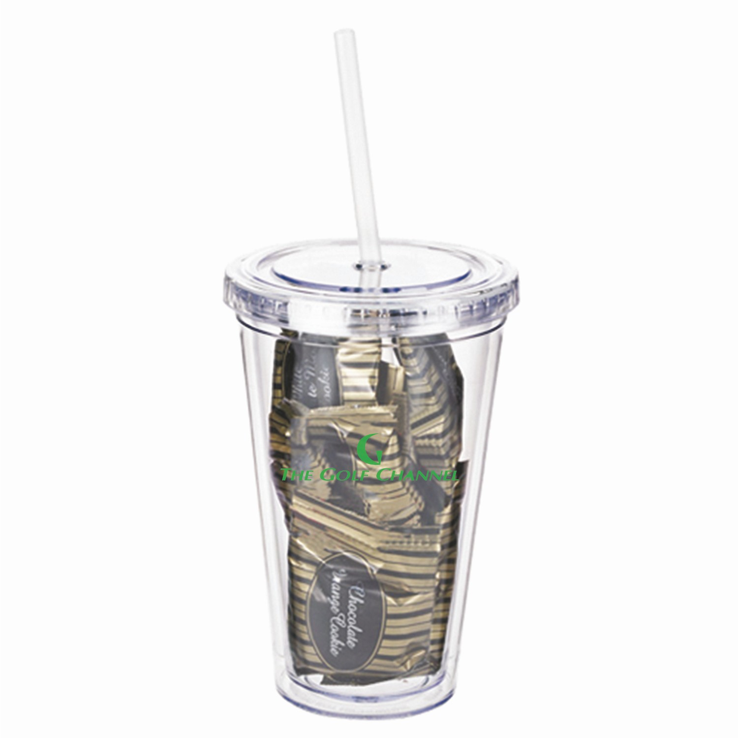16 Oz. Clear Acrylic Tumbler W/Wrapped Gourmet Cookies (10 Piece), TUMB-CRCC, One Colour Imprint