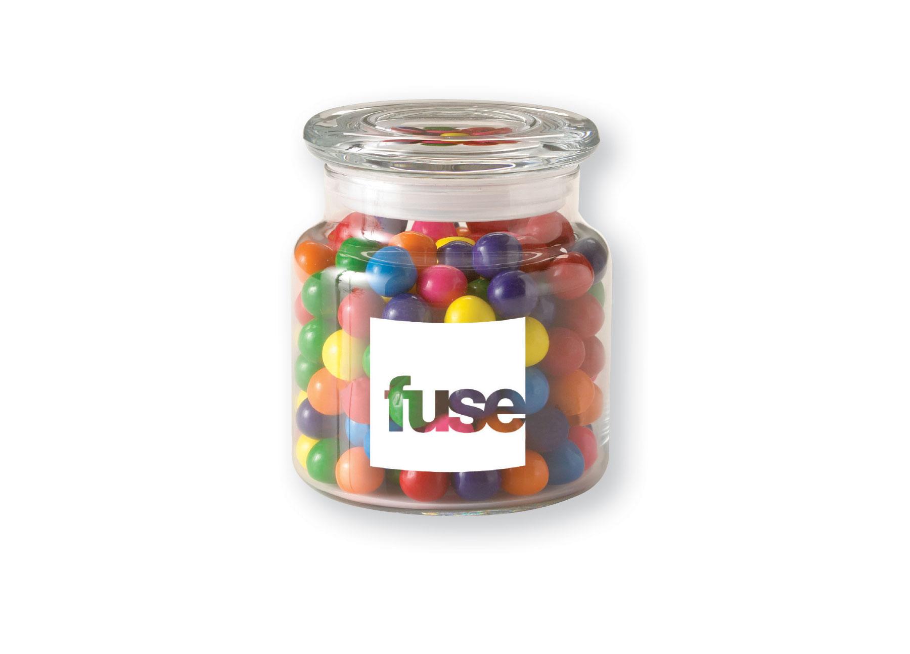 22 Oz. Glass Jar w/ Rainbow Bubble Gum, G220-DBG, One Colour Imprint