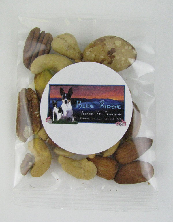 1 Oz. Goody Bag Deluxe Mixed Nuts, GB-DMN, Full Colour Imprint