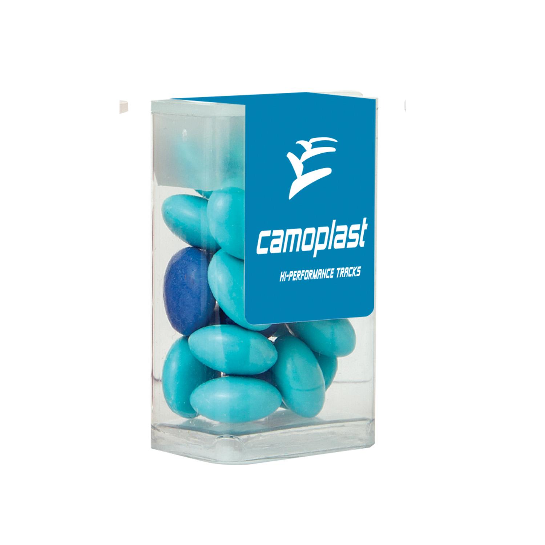 Mini Flip-Top Tube w/Chocolate Buttons, MFT-CBU, Full Colour Imprint