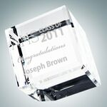 Custom Beveled Diamond Cube Optical Crystal Award (Medium)