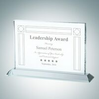 Horizontal Rectangle Clear Glass Award Plaque (Small)