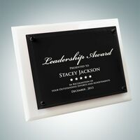 White Wood Plaque Floating Black Glass Plate (Small)