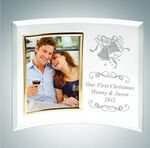 Custom Curved Vertical Gold Photo Frame Jade Glass Award (Small)