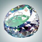 Custom Clear Gem Cut Round Optical Crystal Paper Weight