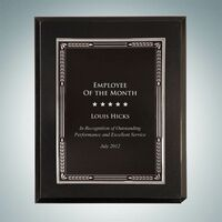 """High Gloss Solid Black Wall Plaque w/Silver Aluminum Plate (7""""x9"""")"""