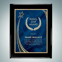 "Black Piano Finish Wall Plaque w/Blue Rising Star Plate (9""x12"")"