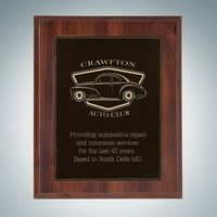 High Gloss Cherrywood Plaque - Black/Gold Leather Plate (Small)