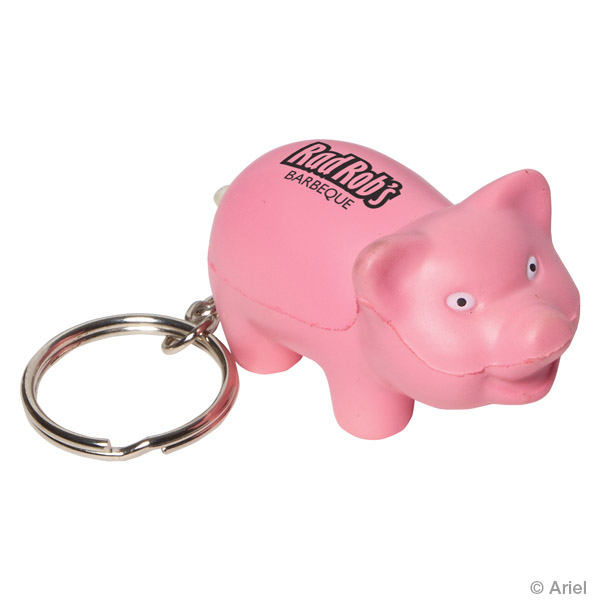 Pig Stress Reliever Keychain, LKC-PG12 - 1 Colour Imprint