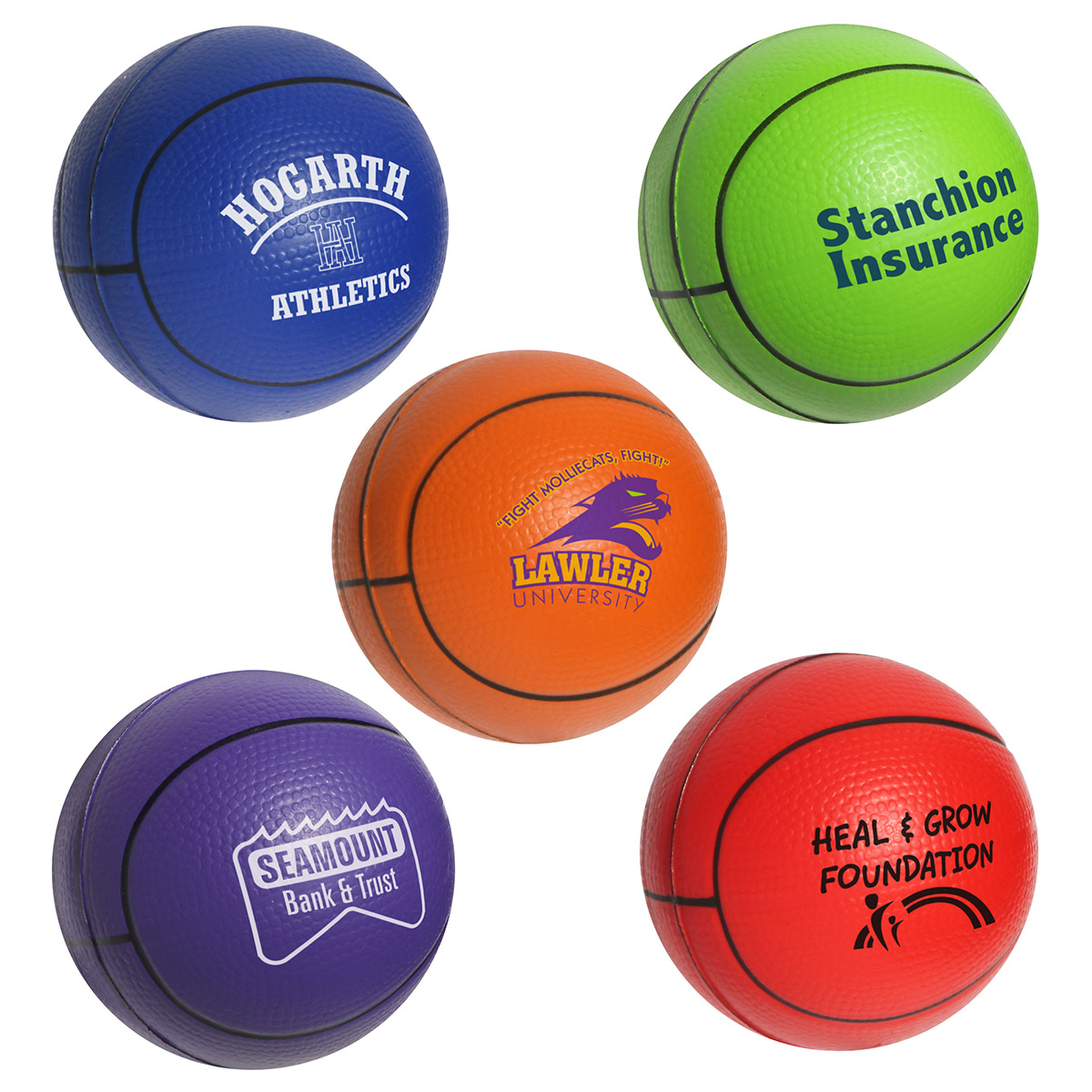 Basketball Stress Reliever, LSP-BK02 - 1 Colour Imprint
