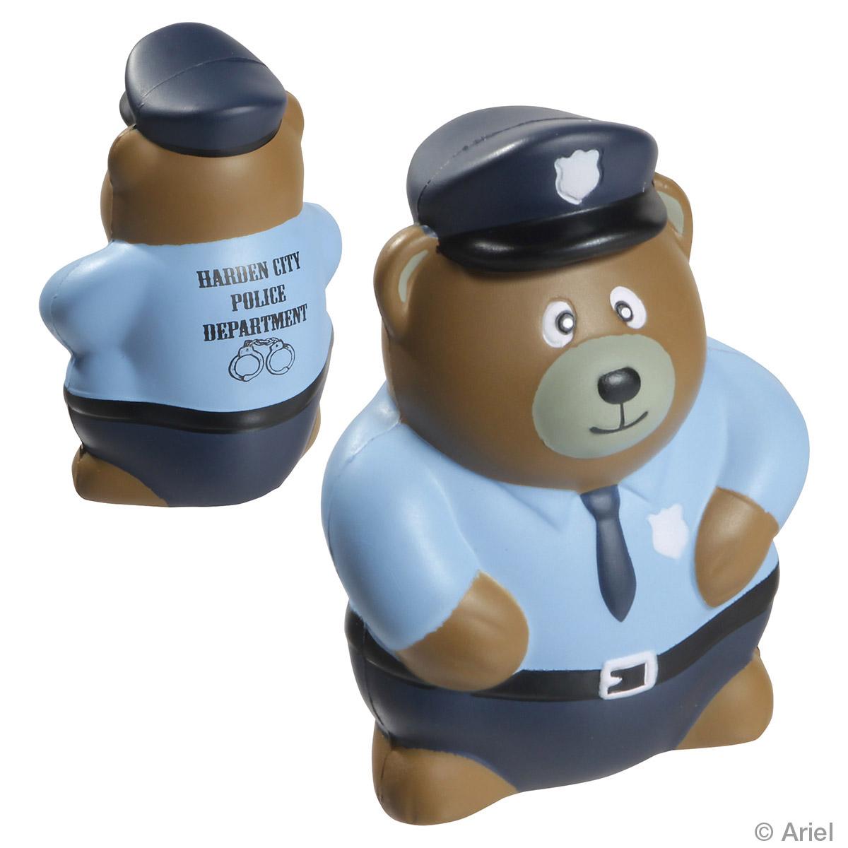 Police Bear Stress Reliever, LCC-PB08 - 1 Colour Imprint
