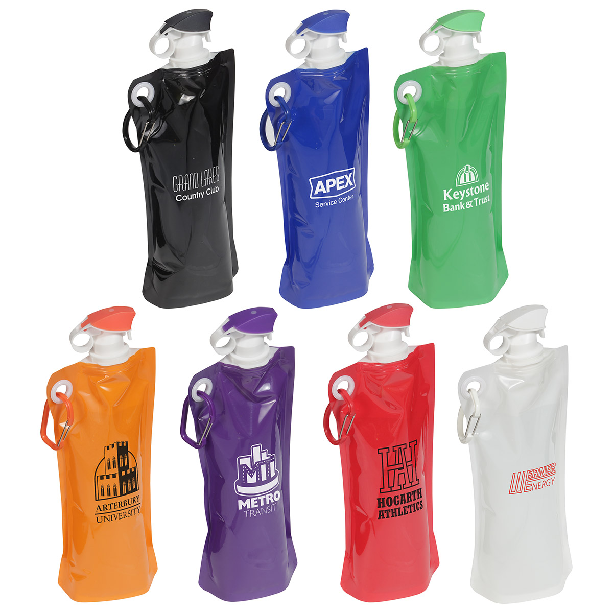 Flip Top Foldable Water Bottle with Carabiner, WKA-FT15, 1 Colour Imprint