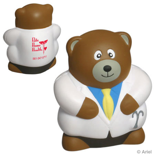 Physician Bear Stress Reliever, LAN-PB07 - 1 Colour Imprint
