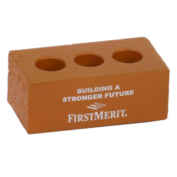 Brick w/ Holes Stress Reliever, LCN-BR31 - 1 Colour Imprint