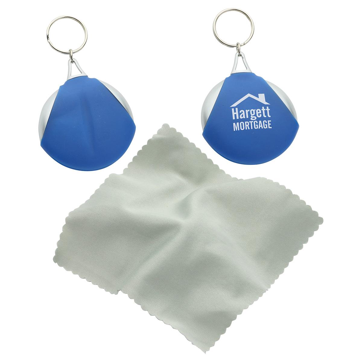 Pocket Microfiber Lens Cloth Keychain, WEE-PC11 - 1 Colour Imprint