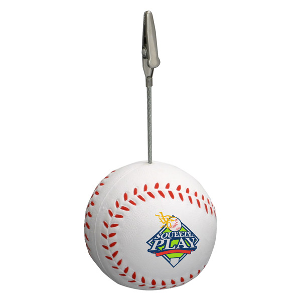 Baseball Stress Reliever Memo Holder, LMH-BA01, 1 Colour Imprint