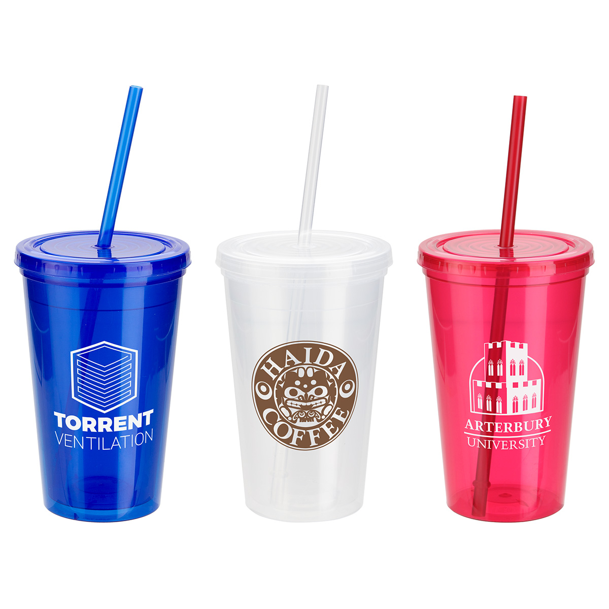 Trifecta 16 oz Double Wall Insulated Tumbler with Lid + Straw, DWP-TF18, 1 Colour Imprint