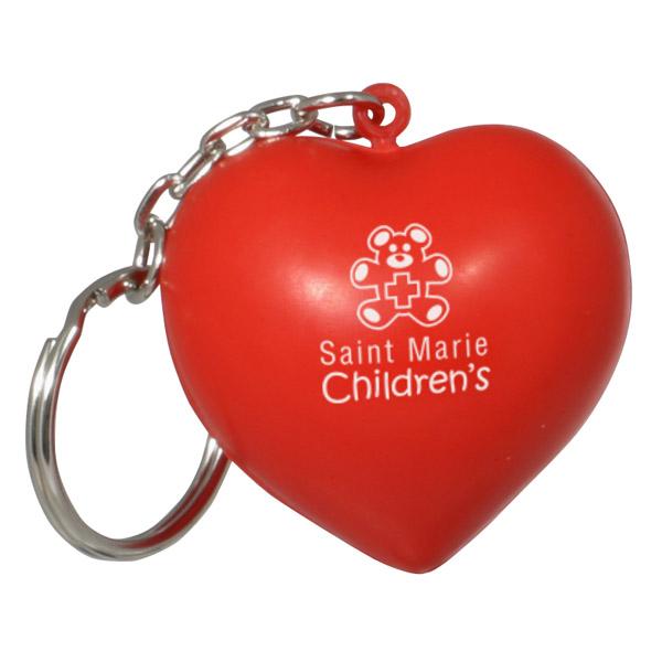 Valentine Heart Stress Reliever Keychain, LKC-VH07 - 1 Colour Imprint
