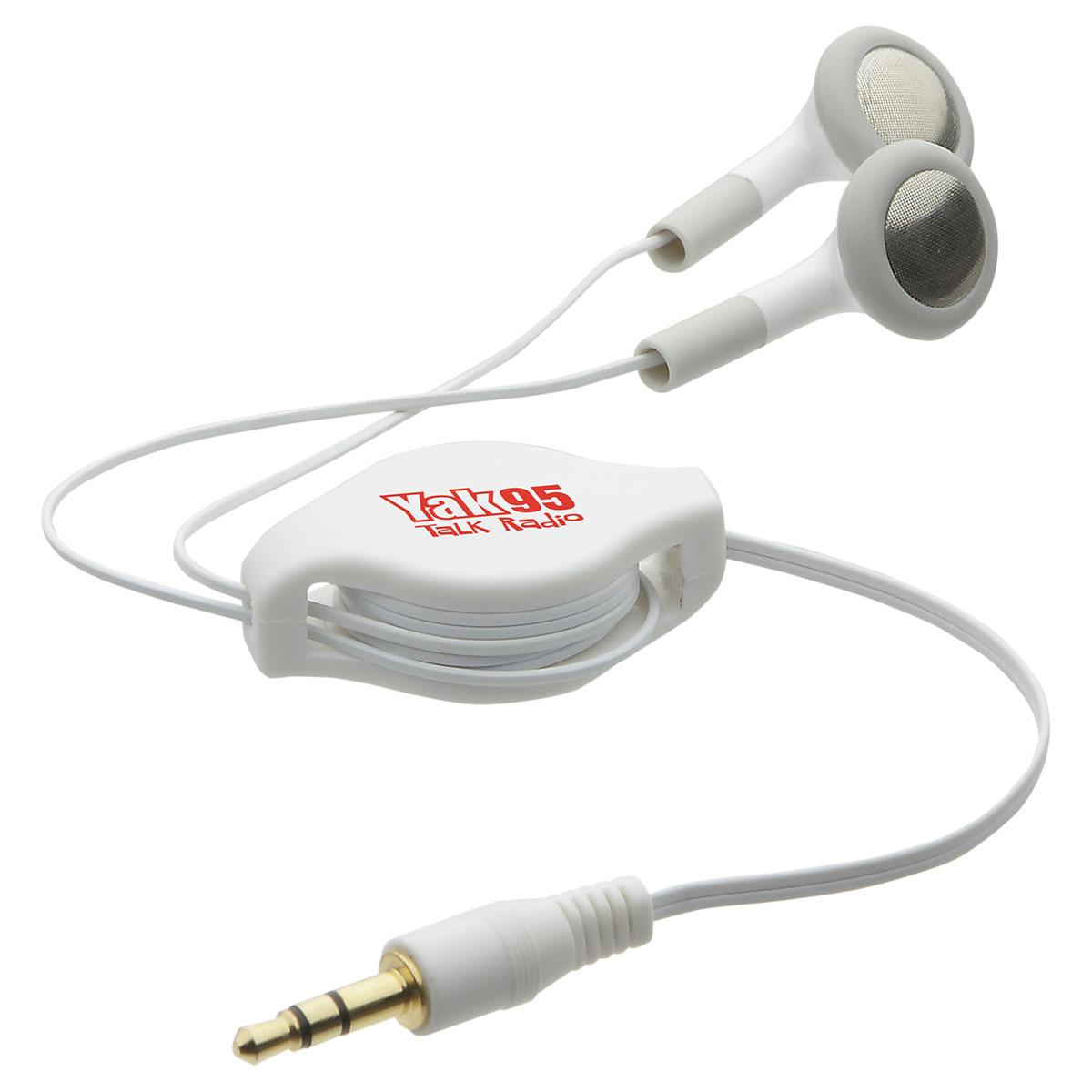Auto Recoil Ear Buds, WTV-AR13 - 1 Colour Imprint