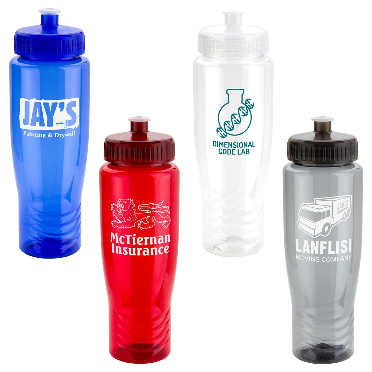 Sprint 28 oz PET Eco-Polyclear Bottle with Push-Pull Lid, DWP-SP18, 1 Colour Imprint