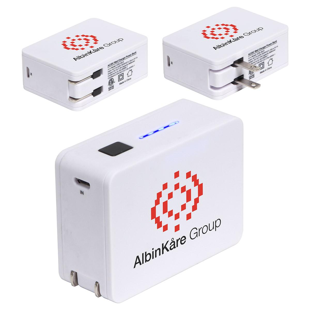 2-in-1 USB Wall Charger Power Bank - 2600mAh, EPB-26U5 - 1 Colour Imprint
