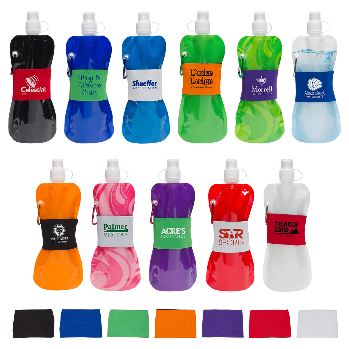 Comfort Grip Flex 16 oz Water Bottle with Neoprene Waist Sleeve, WKA-CG15, 1 Colour Imprint
