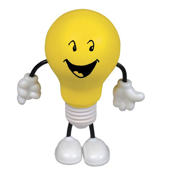 Lightbulb Figure Stress Reliever, LCH-LB57 - 1 Colour Imprint