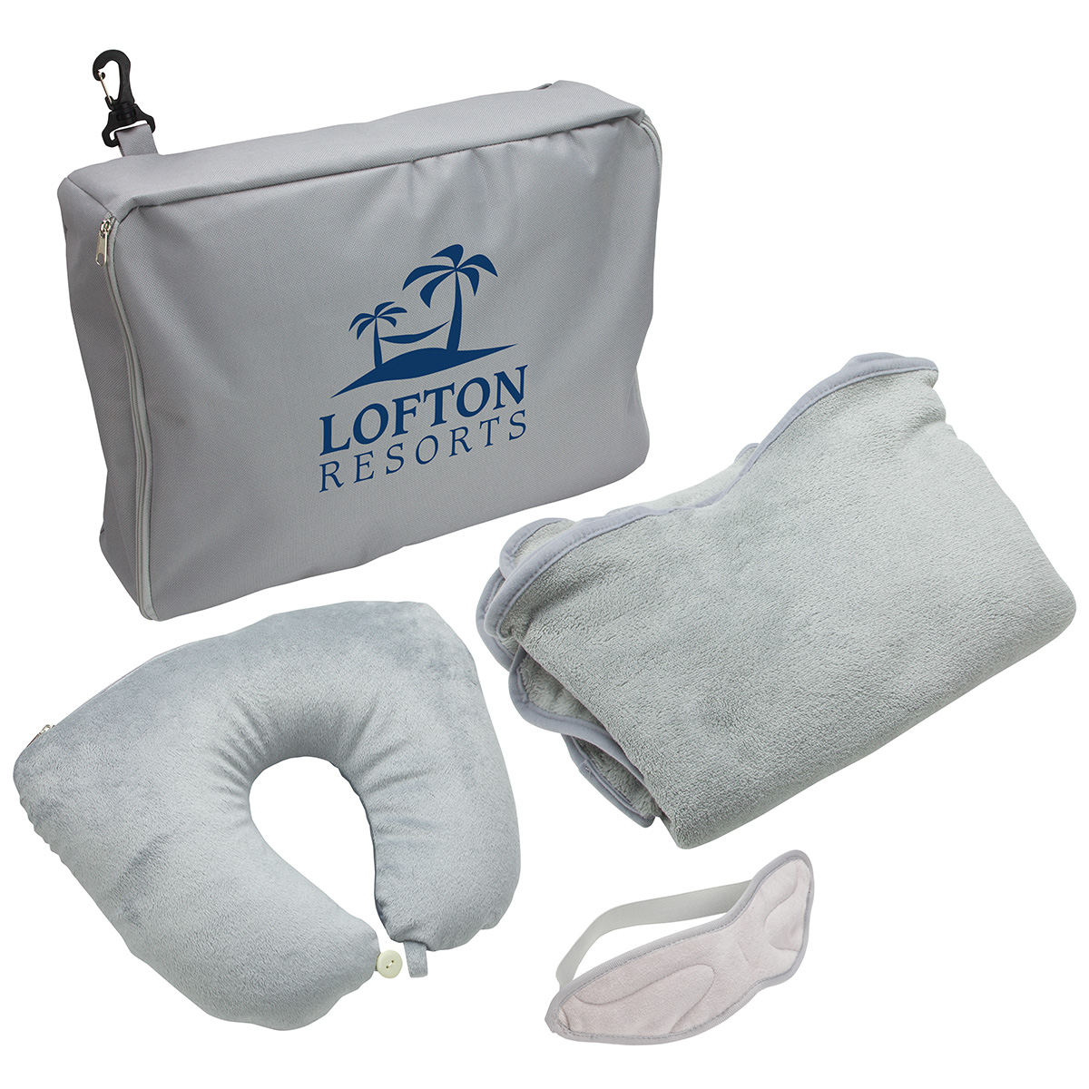 Three Piece Travel Pillow and Blanket Set, WTV-TP15 - 1 Colour Imprint