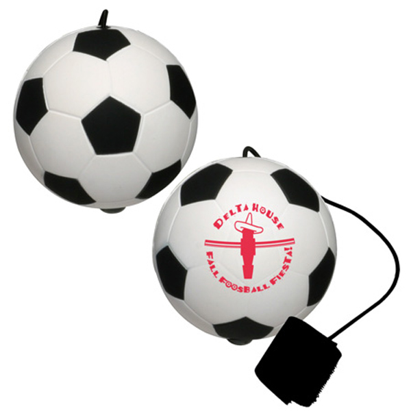 Soccer Ball Yo-Yo Bungee Stress Reliever, LYY-SC06 - 1 Colour Imprint