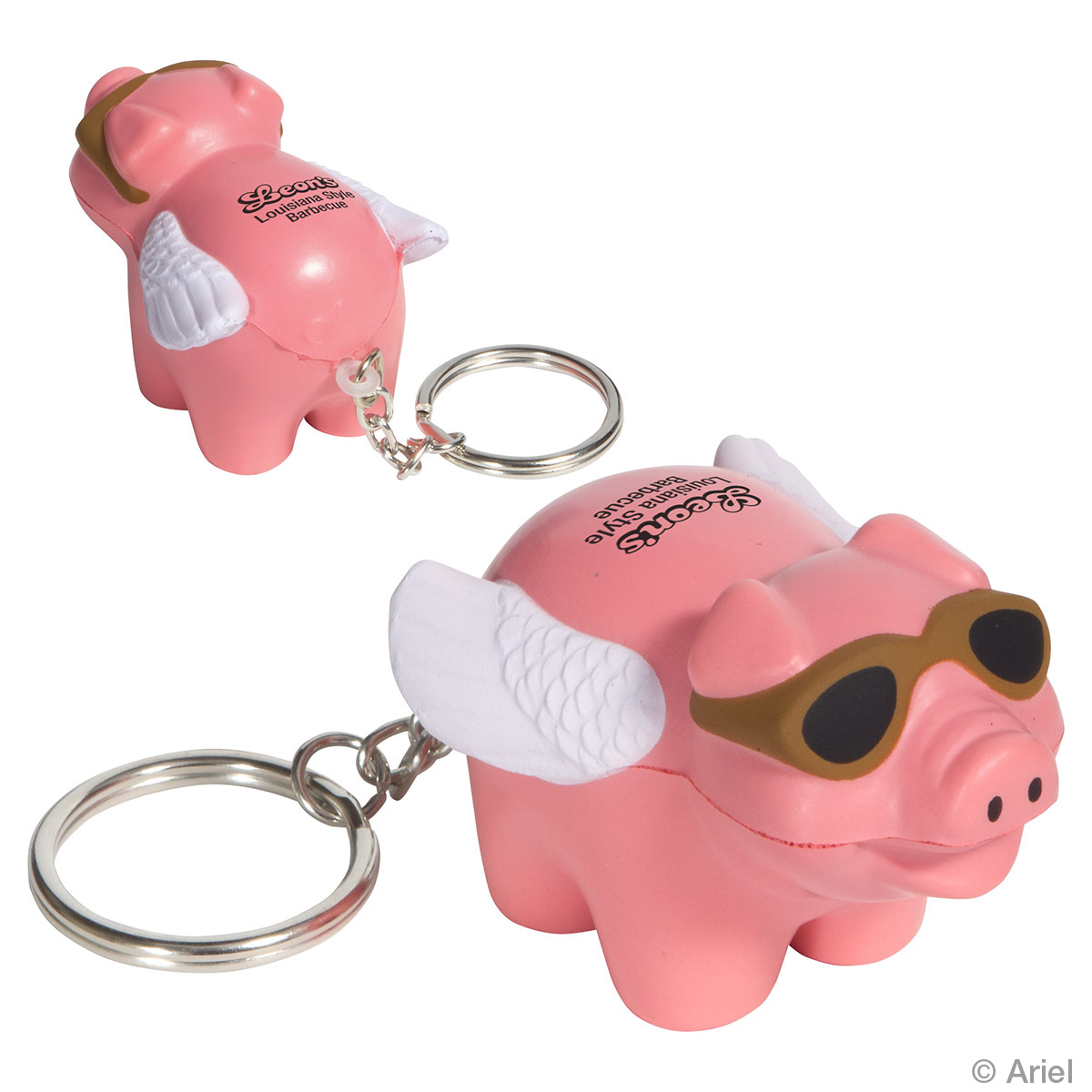Flying Pig Stress Reliever Key Chain, LKC-FP15, 1 Colour Imprint