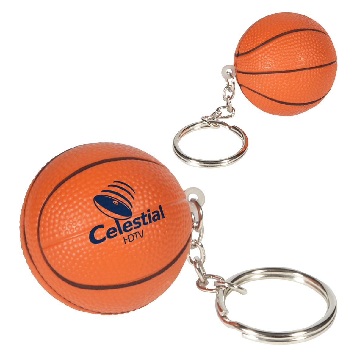 Basketball Stress Reliever Keychain, LKC-BK02 - 1 Colour Imprint