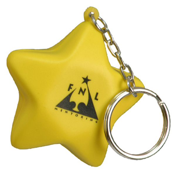 Star Stress Reliever Keychain, LKC-ST06 - 1 Colour Imprint