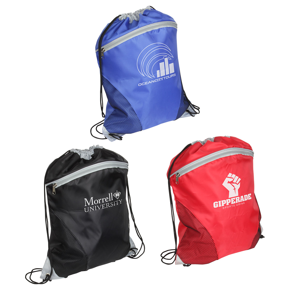 Cyclone Mesh Curve Drawstring Backpack, WBA-CM12 - 1 Colour Imprint